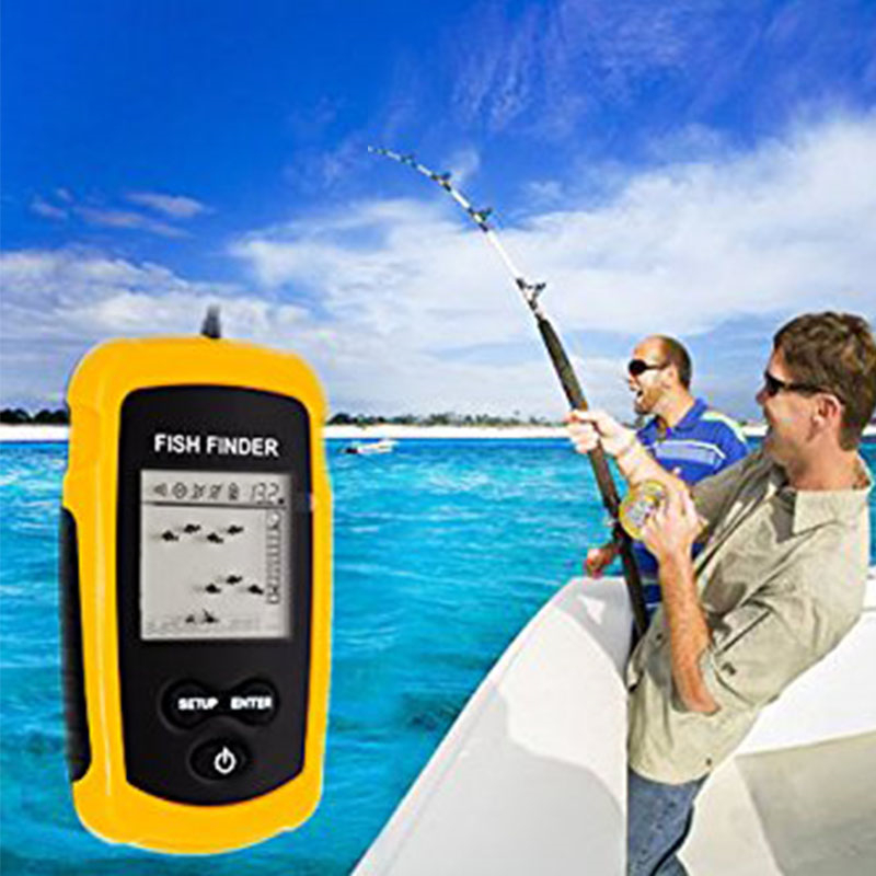 100m Depth Fish Finder Electronic Fishing Tackle Sonar Fish Finder Portable Sonar Wired LCD Fish depth Finder Alarm анатолий и