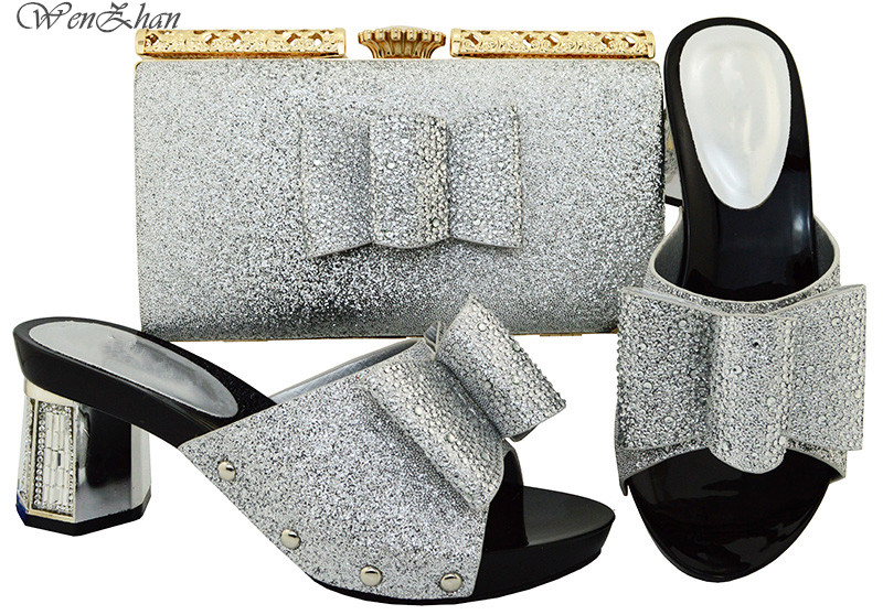 Latest Sliver Color Italian Shoes With Matching Bags African Fashion Thick Shoes and Bag Set Women Italian African Party B81-1 doershow latest african shoes and bag set for party italian fashion women sandal with matching bags set with rhinestones hjn1 12
