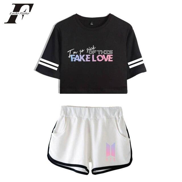 8906ada7e497 LUCKYFRIDAYF 2018 bts Album Kpop Bangtan Boys Two Piece Set Women bts Love  Yourself Tear Fake Love Summer Crop Top Shorts Pant