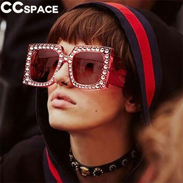 581422ee7c7 CCSPACE Crystal Diamond Sunglasses Large Frame Women Pink G Shiny Square  Glasses Brand Designer Fashion Eyewear Shades 45215