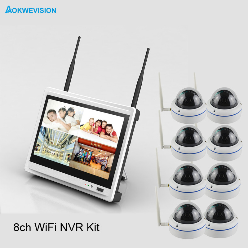 Aokwe New arrival 8ch indoor dome IR 720P IP Real p2p WiFi font b wireless b