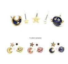 5pcs/lot Hot Sale Cute Blue The Universe Planet Moon Stars Pearl Stud Earrings Lovely Personality Fashion Earring For Women Girl