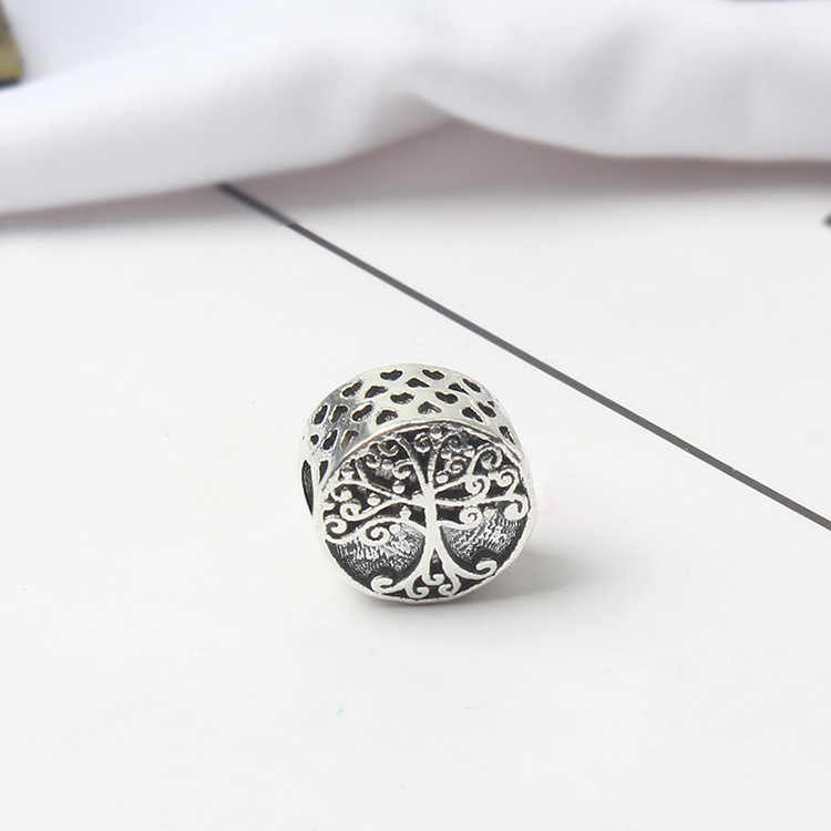 Btuamb Vintage Boho Tibet Silver Color Carved Tree Charm Beads Fit Pandora Bracelets & Bangles for Women Making Jewelry Berloque