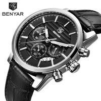 TOP Brand Military Sport Watches Analog Display Date Chronograph Genuine Leather BENYAR Watch Men Watches Relogio Masculino