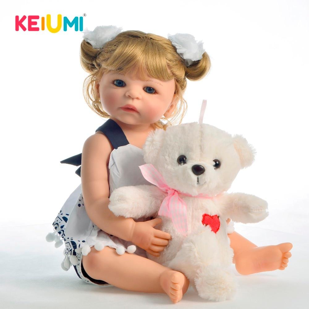KEIUM 55 CM Neue Ankunft Volle Körper Vinyl Baby Puppe Mädchen Spielzeug Lebensechte Boneca Reborn Babys Blonden Locken Haar Kinder geburtstag Präsentieren
