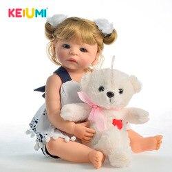 Keium 55 cm nova chegada de corpo inteiro vinil bebê boneca menina brinquedo realista boneca reborn bebês cachos loiros cabelo crianças aniversário presente