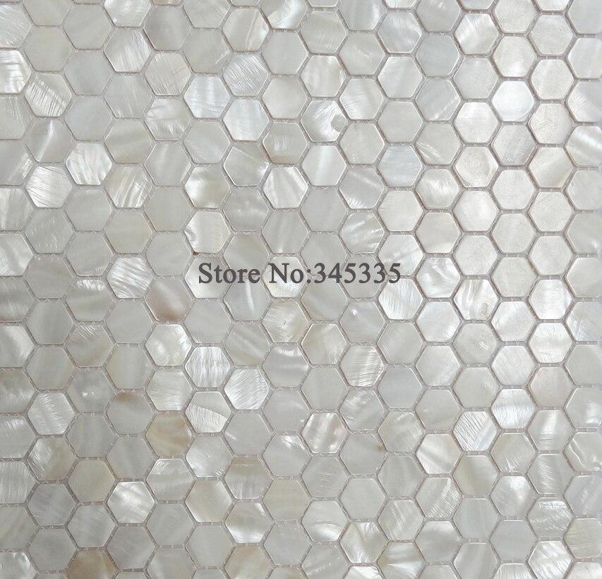 Attraktiv 11 STÜCKE Weiß Hexagon Shell Mosaik Fliesen Perlmutt Küche Dusche Tapete  Badezimmer Backsplash Fliesen Großverkauf