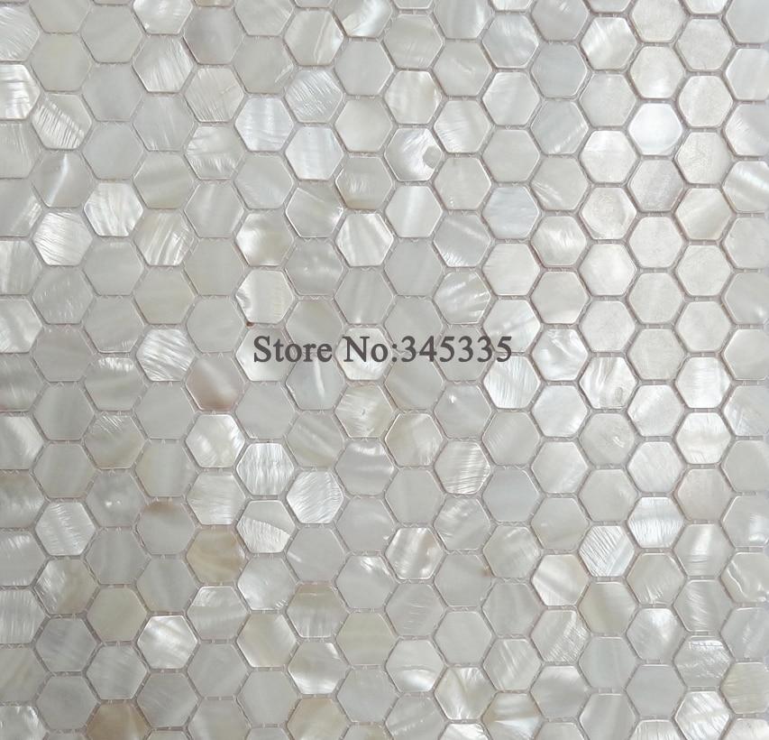 11pcs White Hexagon Shell Mosaic Tile Mother Of Pearl Kitchen Shower Wallpaper Bathroom Backsplash Tiles Factory