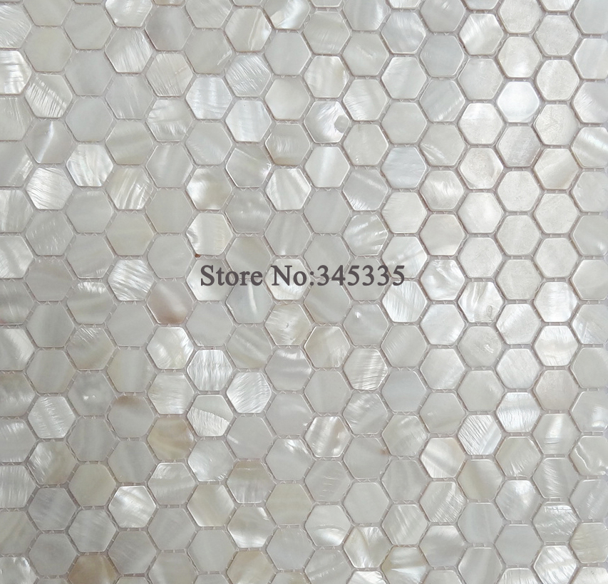 11pcs White Hexagon Shell Mosaic Tile Mother Of Pearl Kitchen Shower Wallpaper Bathroom Backsplash Tiles Factory Direct In Wallpapers From Home