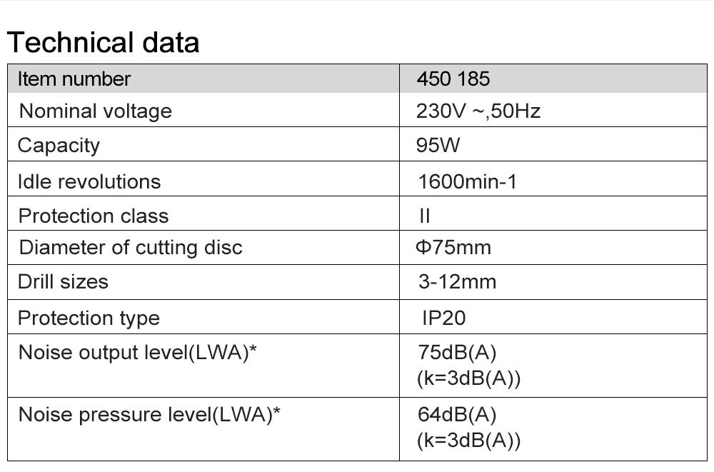 Technical data Prostormer