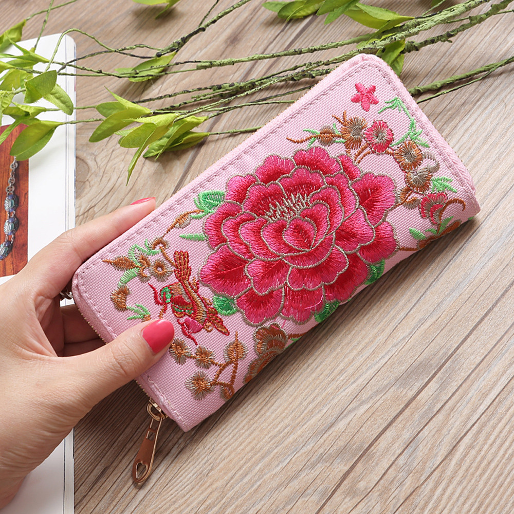 Wallet Women Fashion Single Pull Embroidery Ethnic Style Wallet Card Bag Coin Bag