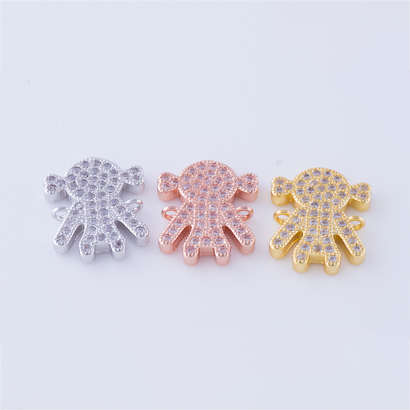 Supplier For Jewellery Wholesale 2017 Micro Pave Zircon Gold Plated Cute Boy Girl Charms Connectors For Bracelets Jewelry Making