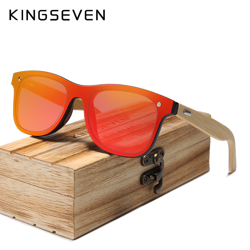 KINGSEVEN DESIGN 2019 Siamese lens Sunglasses Men Bamboo Women Brand Design Goggles Red Mirror Sun Glasses Shades