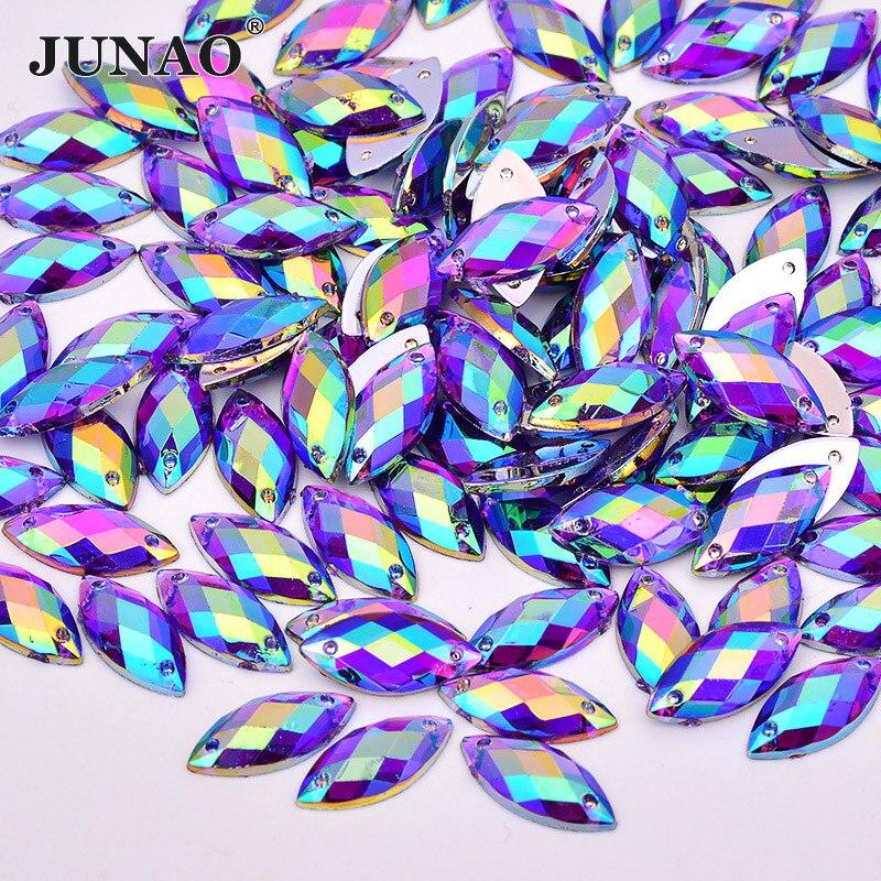 JUNAO 7 15mm Sew On Purple AB Crystals Horse Eye Rhinestones Flatback  Acrylic Strass Sewing 0107e6b02005