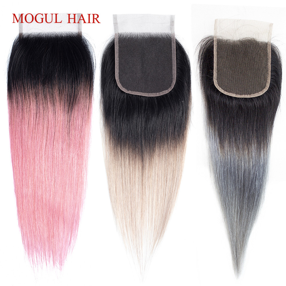 MOGUL HAIR 4*4 Lace Closure T 1B Grey Pink Ombre Remy Human Hair Brazilian Straight Hair Free Middle Part Closure 10 12 14 Inch