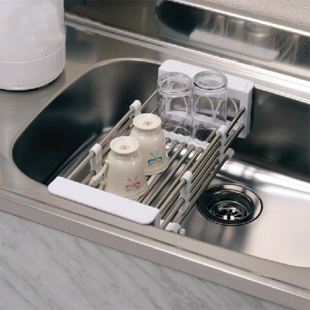 Kitchen Sink Dish Rack Insert Countertop Storage Organizer Tray Stainless Steel Shelves