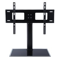 Height Adjustable Floor Type Toughened Glass TV Bracket Stand TV Holder For 37 55 Inches LCD Flat Screen TV Load 60kg 130lbs
