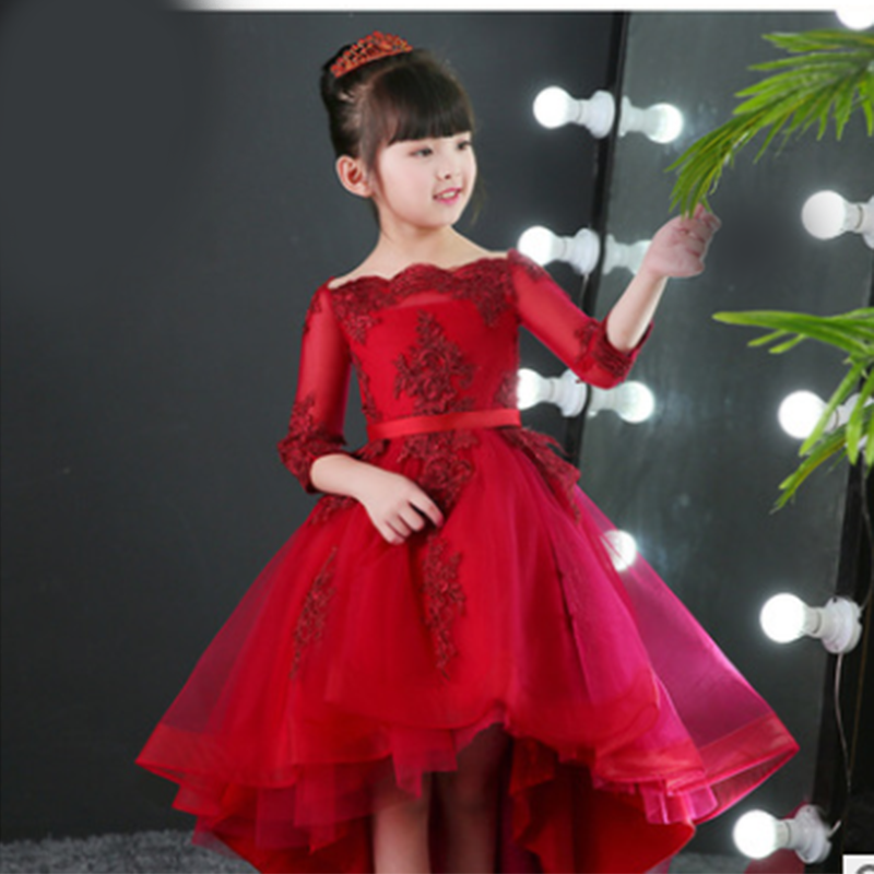 Children's word shoulder wedding dress evening dress princess dress flower girl catwalk wedding birthday celebration dress dress georgede dress