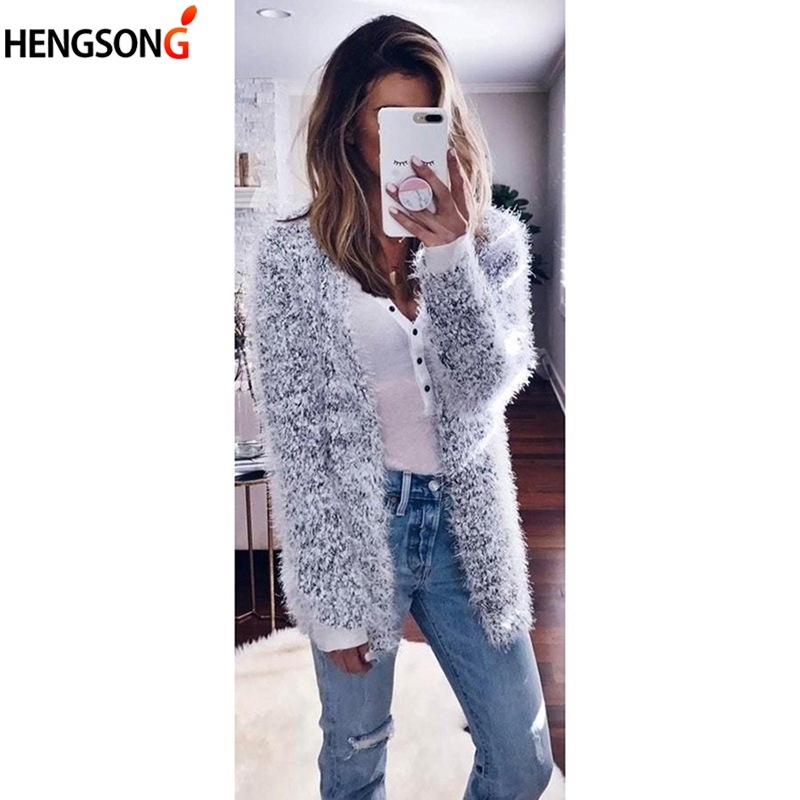Women's Knitted Sweaters Fluffy Shaggy Faux Fur Cardigan Solid Color Slim Long Winter Autumn Warm Outwears Sweaters