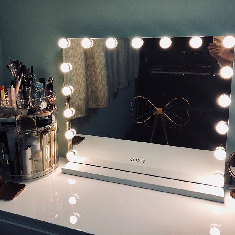 Hollywood Estilo Frameless Iluminado espelho de Maquilhagem Espelho de Vaidade com Luzes Brilho Ajustável Espelhos do Salão de Beleza Cosméticos Artista