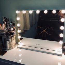 Espejo de tocador para maquillaje iluminado sin marco de estilo Hollywood con luces espejos de brillo ajustables salón de belleza artista cosmético