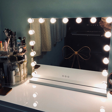 Hollywood Style Frameless Lighted Vanity Makeup Mirror with Lights Adjustable Brightness Mirrors Beauty Salon Cosmetic Artist frameless vanity mirror with light hollywood makeup lighted mirror 3color light cosmetic mirror adjustable touch screen 58 46cm