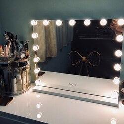 Hollywood Style frameless Illuminato specchio cosmetico con luci e 10 xmagnification Dello Schermo di Tocco LED Illuminato Cosmetico lampadine