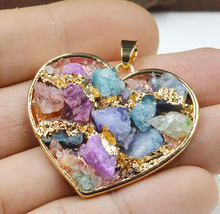 YA1986 Mix Color Druzy Inside Heart Frame Pendant Gold color 40x30mm(China)