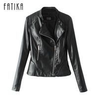 FATIKA 2017 New Autumn Winter Women's Basic Biker Jackets Zippers Pockets Motorcycle Faux Leather Jackets Women Outerwear Coats