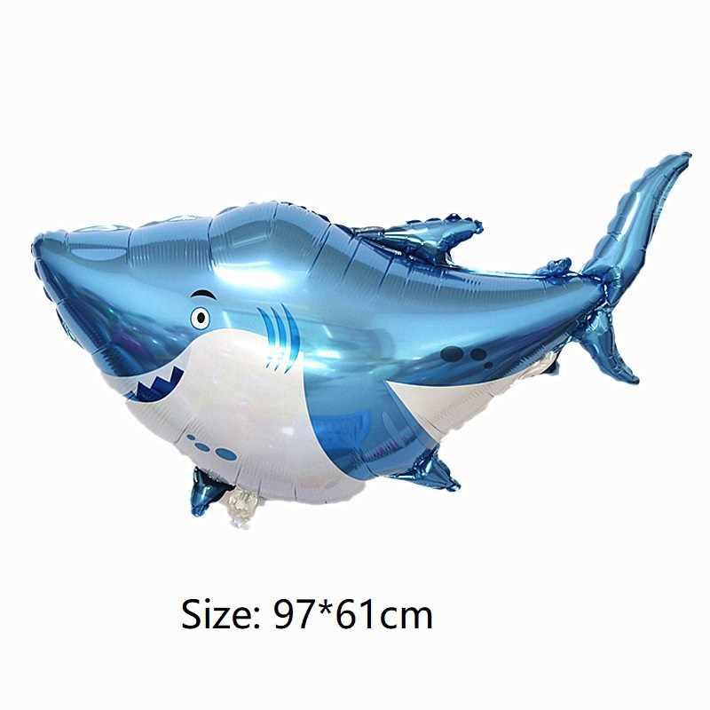 60*37 cm prata tubarão foil Birthday party balloons Decoração animal do oceano sereia Balão presente toy kid crianças Inflável bola