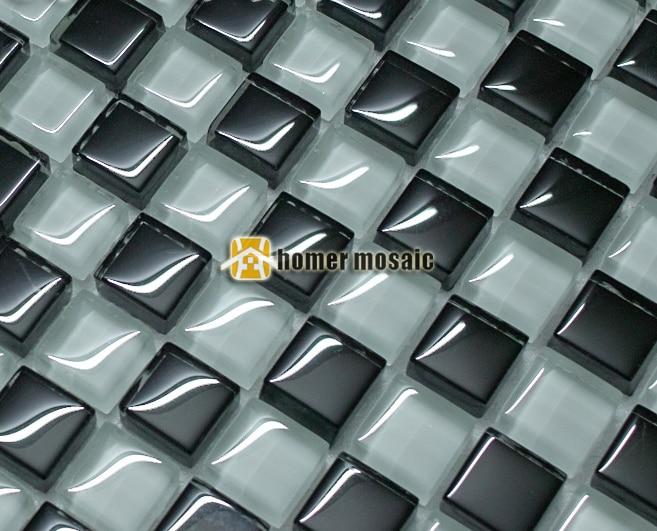 black <font><b>and</b></font> <font><b>white</b></font> glass <font><b>mosaic</b></font> <font><b>tiles</b></font> EHGM1031 for swimming pool bathroom shower <font><b>tiles</b></font> wall <font><b>mosaic</b></font> kitchen backsplash free shipping