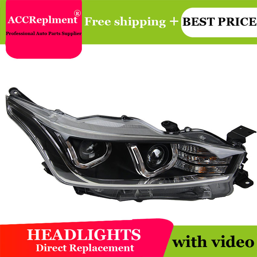 Auto Lighting Style LED Head Lamp for Toyota YARiS L led headlights 2014-2016 double U led drl H7 hid Bi-Xenon Lens low beam auto part style led head lamp for nissan x trail led 14 15 headlights for x trail drl h7 hid bi xenon lens angel eye low beam