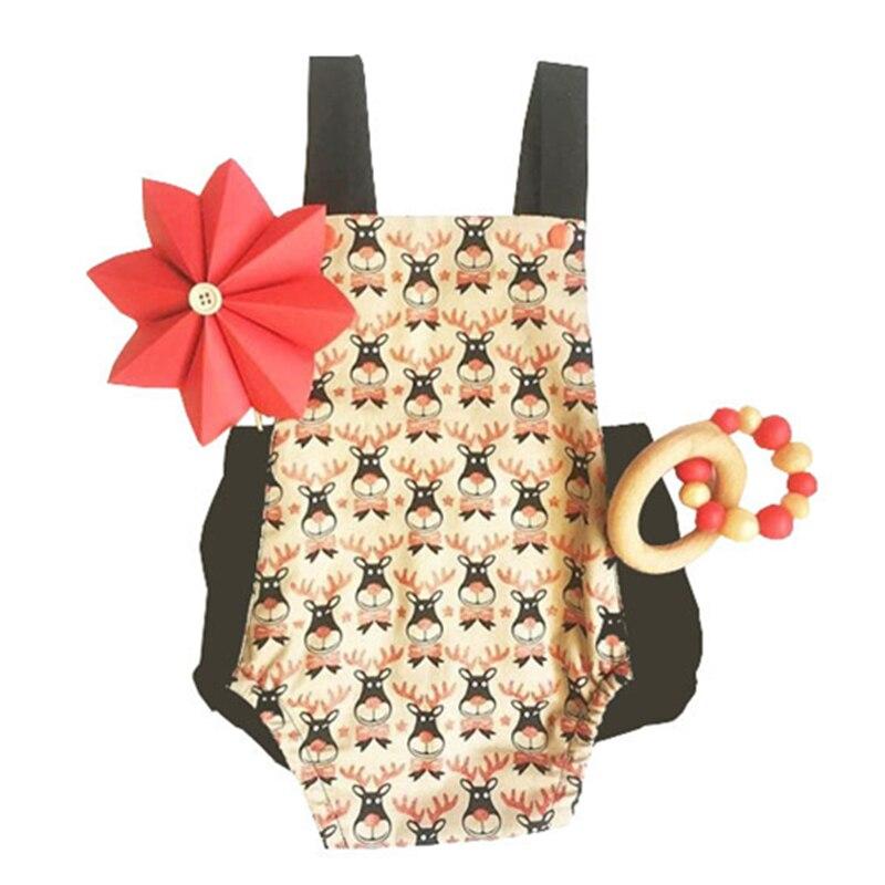 2018 Fashion Newborn Cartoon Deer Print Backless Sleeveless Girls Bodysuits Newborn Onesie Toddler Infant Kids Baby Clothes