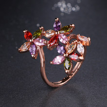 Emmaya Unique Design Fashion Monalisa Ring Rose Gold Color Colorful AAA Zircon Wedding bijoux 3 Ctue Flowers Rings For Women(China)