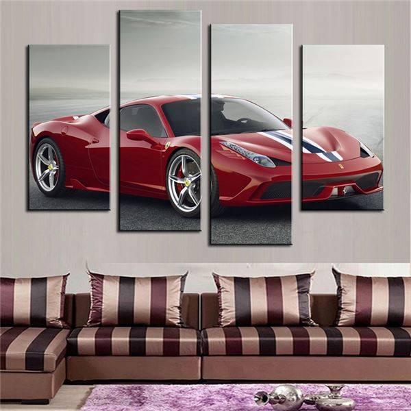 4 pièces (pas de cadre) rouge sport voiture mur Art photo décoration de la maison salon toile impression peinture mur photo sur toile
