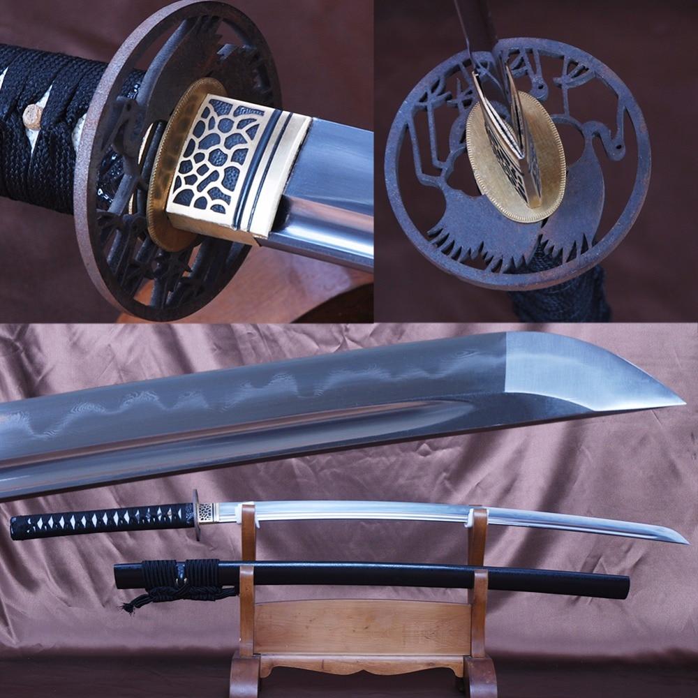 Battaglia Pronto Giapponese Samurai Spada Katana Completa Handmade Piegato In Acciaio Temperato Argilla Espada Pieno Tang Pratica Taglio Coltello