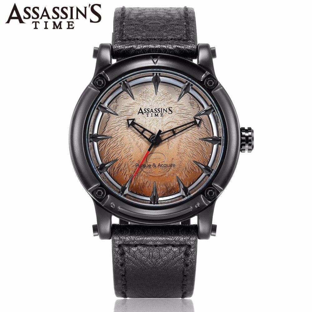Assassin's Time Wolf Men's Watch Japan Quartz Homme Big Hours Fine Fashion Man Clock Genuine Leather Boy's Birthday Gift