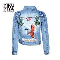 YIKUYIYA Bottom Pocket Rivet Plant Bird Embroidery Women Basic Jackets Coats 2017 Spring Jeans Jacket Women