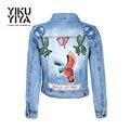 YIKUYIYA Inferior Rebite Bolso Planta Pássaro Bordado Básico Das Mulheres Jaquetas Casacos de Primavera 2017 calças de Brim Mulheres Jaqueta Denim Outwear Mulheres