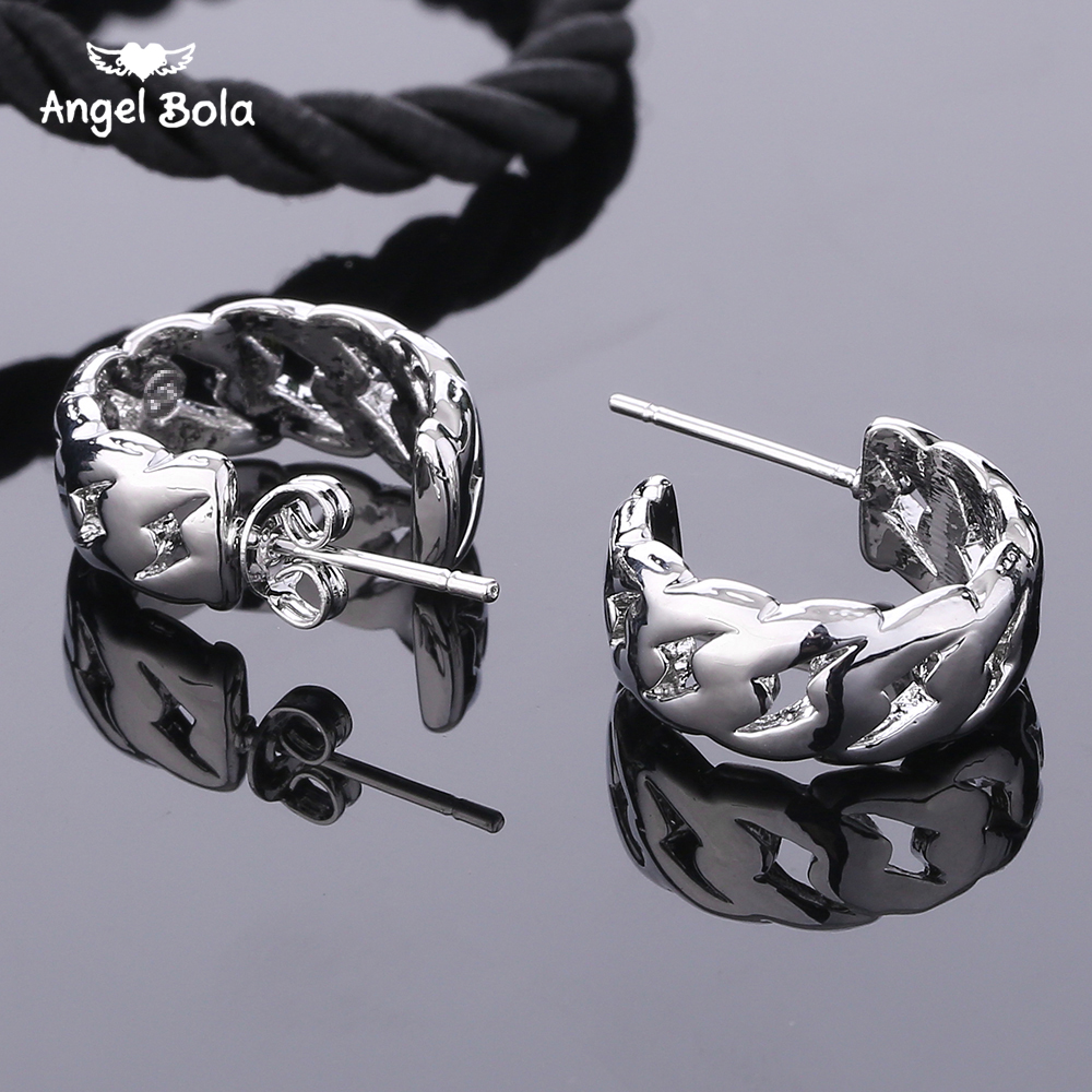 10Pcs/Lot Punk Men Silver Hoop Piercing Round Stud Earrings Buddha Earring for Women Men Fashion Jewelry Brincos Unisex Er1227-3