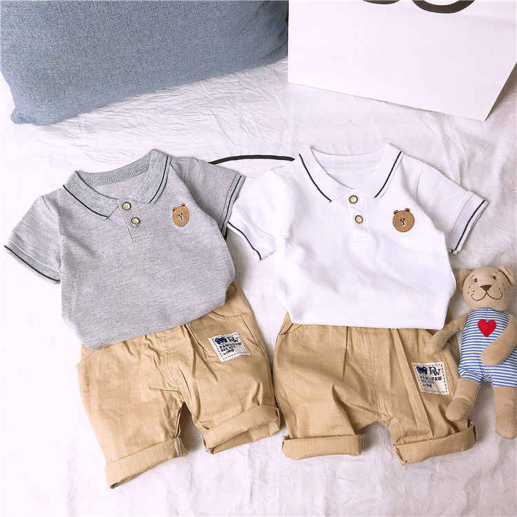 bfcddb2fd8a68 Detail Feedback Questions about Baby Boy Clothes Summer Kids clothing sets  Handsome gentleman short sleeve shirt T shirt+Khaki Shorts Suits 2 piece set  on ...