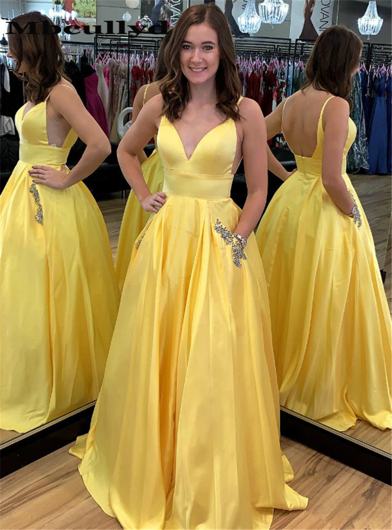 Mbcully Chic Satin A-line   Prom     Dress   2019 With Shining Beading Crystal Yellow Evening Gala Gowns Plus Size Vestidos de fiesta