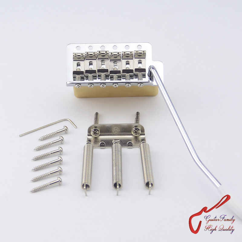 1Set GuitarFamily Super Qualität Chrom Vintage Tremolo-System Brücke Mit Messing Block MADE IN TAIWAN