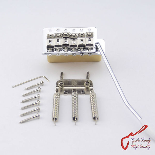 1Set GuitarFamily Super Quality Chrome Vintage Tremolo System Bridge With Brass Block  MADE IN TAIWAN