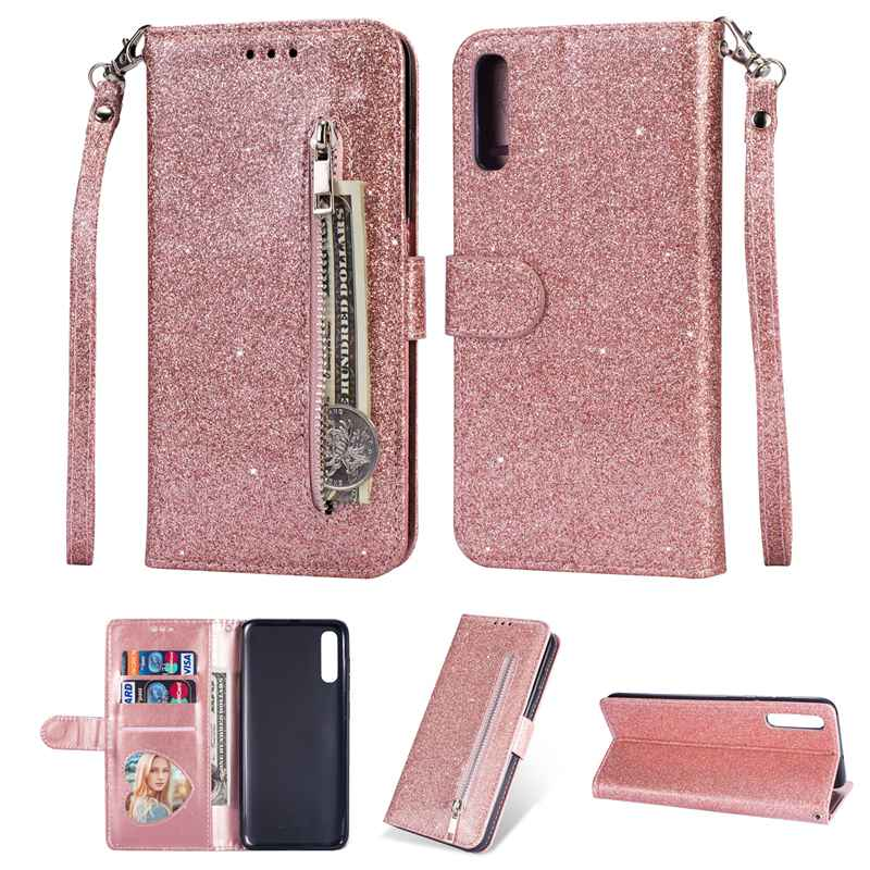 Glitter Case For Samsung Galaxy A50 Leather Case Cover Protector Hoesje Coque For Samsung Galaxy A50 A70 Flip Case Fundas Etui in Flip Cases from Cellphones Telecommunications