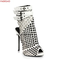 New punk style rivets stud gladiator sandals summer boots thin high heels fashion women shoes open toe buckle ankle boots