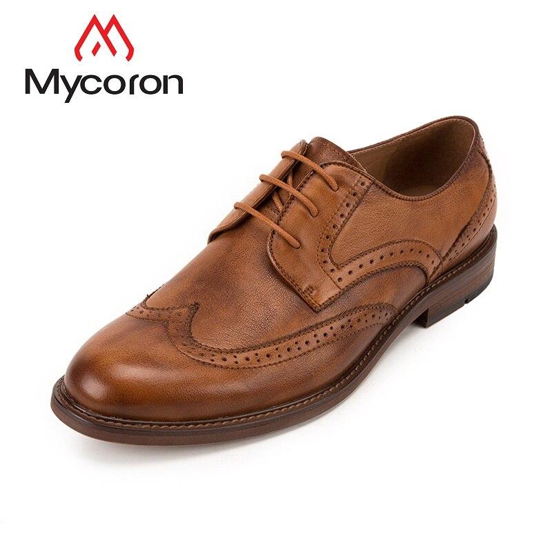 цены MYCORON Fashion Brand Men Shoes Wedding Party Brogue Shoes Men Boots Genuine Leather Formal Business Shoes Sepatu Kulit Pria