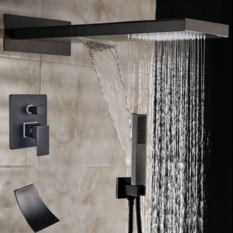 Wholesale And Retail Luxury Oil Rubbed Bronze Bathroom Rainfall & Waterfall Shower Head 3 Ways Valve Mixer