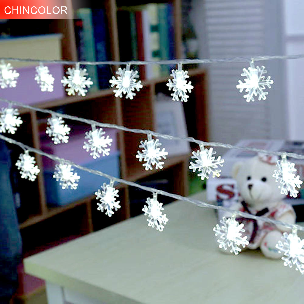 1m 10leds Holiday lights Snowflake shape Led Light string Battery Operated Xmas christmas Weeding wine Bar Party decoration F