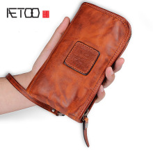 цены на AETOO Original design retro leather long wallet fold multi-card multi-card zipper handbag handmade  в интернет-магазинах